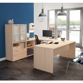 Bestar® U-Desk with Frosted Glass Door Hutch - Northern Maple - i3 Plus Series
