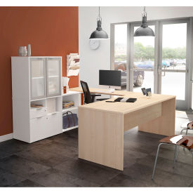Bestar® U-Desk with Frosted Glass Door Hutch - Northern Maple and White - i3 Plus Series