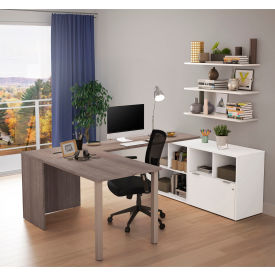 Bestar® U-Desk with One File Drawer - Bark Gray and White - i3 Plus Series