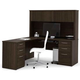 "Bestar® L-Shaped Desk and Hutch - 66"" - Dark Chocolate - Embassy Series"