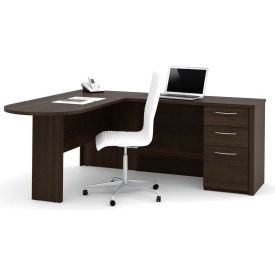 "Bestar® L-Shaped Desk - 66"" - Dark Chocolate - Embassy Series"