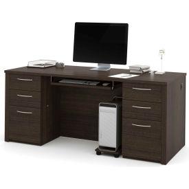 "Bestar® 71"" Executive Desk Kit - 71"" - Dark Chocolate - Embassy Series"