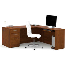 "Bestar® 71"" L-Shaped Desk - 71"" - Tuscany Brown - Embassy Series"