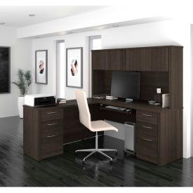 "Bestar® L-Shaped Desk with Hutch - 71"" - Dark Chocolate - Embassy Series"