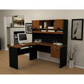 "Bestar® L Desk with Hutch - 60"" - Tuscany Brown & Black - Innova Series"