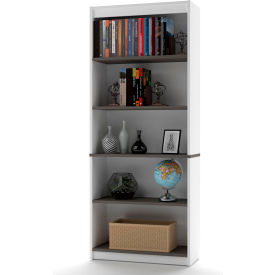 "Bestar® Bookcase 5 Shelf 29-1/2""W x 11-5/8""D x 72""H White & Antigua"