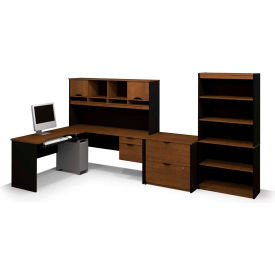 "Bestar® L Shape Desk Kit with Hutch, File & Bookcase - 60"" - Brown & Black - Innova Series"