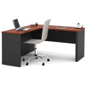 "Bestar® L Desk - 60"" - Bordeaux & Graphite - Prestige+"