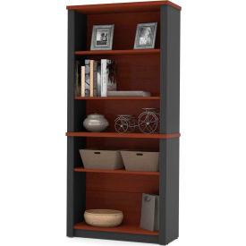 """Bestar® Modular Bookcase - 66-3/4""""H - Bordeaux and Graphite - Prestige+"""