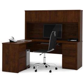 "Bestar® L Desk with Hutch - Double Pedestal - 71"" - Chocolate - Prestige+"
