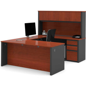 "Bestar® U Desk with Hutch - Double Pedestal - 71"" - Bordeaux & Graphite - Prestige+"