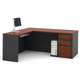 "Bestar® L Desk with Pedestal - 71"" - Bordeaux & Graphite - Prestige+"