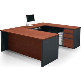 "Bestar® U Desk with Pedestal - 71"" - Bordeaux & Graphite - Prestige+"