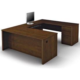 "Bestar® U Desk with Pedestal - 71"" - Chocolate - Prestige+"