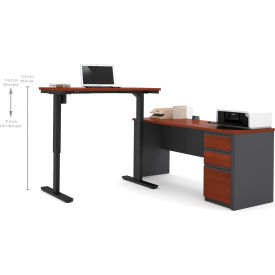 Bestar® Prestige + L-Desk with Electric Height AdjusTable Table Bordeaux & Graphite