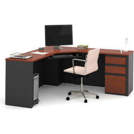 Bestar® Corner Desk with Pedestal - Bordeaux and Graphite - Prestige + Series