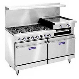 "Restaurant Series Range, 60"", Nat Gas, 340,000 BTU With Cabinet Base"