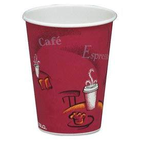 SOLO® Bistro Design Hot Drink Cups, 12 Oz., Maroon, 1,000/Carton