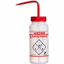 Bel-Art LDPE Wash Bottles 116420622, 500ml, Acetone Label, Red Cap, Wide Mouth, 3/PK