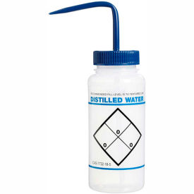 Bel-Art LDPE Wash Bottles 116460620, 500ml, Distilled Water Label, Blue Cap, Wide Mouth, 6/PK