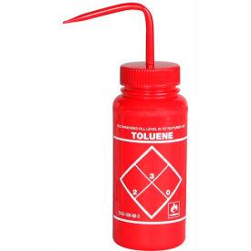Bel-Art LDPE Wash Bottles 116460628, 500ml, Toluene Label, Red Cap, Wide Mouth, 6/PK