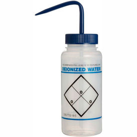 Bel-Art LDPE Wash Bottles 116460631, 500ml, Deionized Water Label, Blue Cap, Wide Mouth, 6/PK