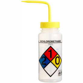 Bel-Art LDPE Wash Bottles 117160002, 500ml, Dichloromethane Label, Yellow Cap, Wide Mouth, 4/PK