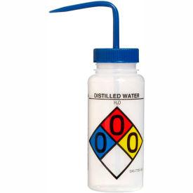 Bel-Art LDPE Wash Bottles 117160004, 500ml, Distilled Water Label, Blue Cap, Wide Mouth, 4/PK