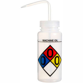 Bel-Art LDPE Wash Bottles 117160010, 500ml, Machine Oil Label, Natural Cap, Wide Mouth, 4/PK