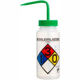 Bel-Art LDPE Wash Bottles 117160012, 500ml, Methyl Ethyl Ketone Label, Green Cap, Wide Mouth, 4/PK