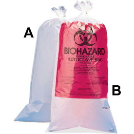 """Bel-Art Biohazard Disposal Bags, Plain, Non-Printed, 1-3 Gallon, 1.5 mil Thick, 12""""W x 24""""H, 100/PK"""
