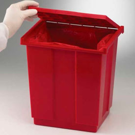 """Bel-Art Biohazard Disposal Can with Lift-Up Cover 131970000, Fits 19"""" x 23"""" Bags, Red, 1/PK"""