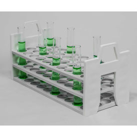 Bel-Art Stack Rack PP Test Tube Rack 188601620, For 16-20mm Tubes, 40 Places, White, 1/PK by