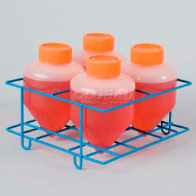 Bel-Art Centrifuge Tube Rack 198560500, For Conical/Round Bottom 500ml Tubes, 4 Places, Blue, 1/PK by