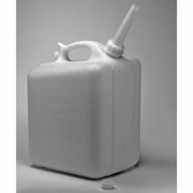 "Bel-Art HDPE Jerrican 10937-0000, 20 Liters (5 Gallons), Screw Cap, 3/4"" I.D. Spout, White, 1/PK"