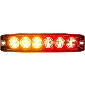 """Buyers 5.14"""" Amber/Red Surface Mount Ultra-Thin LED Strobe Light - 8892206"""