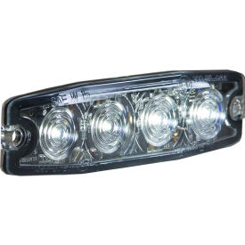 """Buyers 4.4"""" Clear Surface Mount Ultra-Thin Strobe Light With 4 LED - 8892241"""