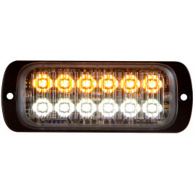"""Buyers 4.5"""" Amber/Clear Thin Mount Rectangular Strobe Light With 12 LED - 8892602"""