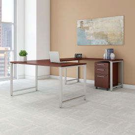 """Bush Furniture 60""""W U-Shaped Table Desk with Mobile File - Harvest Cherry - 400 Series"""