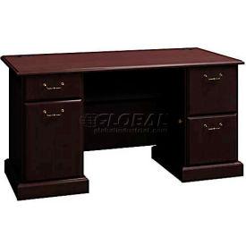 "Bush Furniture 60"" Double Pedestal Desk - Mocha Cherry - Syndicate Series"