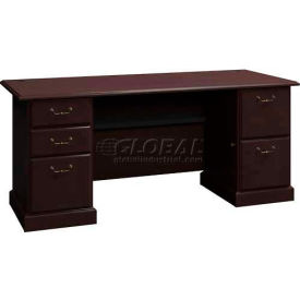 "Syndicate Mocha Cherry 72"" Double Pedestal Desk"
