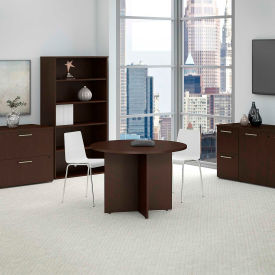 """Bush Business Furniture 42""""W Round Conference Table with Wood Base in Mocha Cherry"""