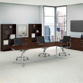 """Bush Business Furniture 120""""W x 48""""D Boat Shaped Conference Table with Metal Base in Mocha Cherry"""