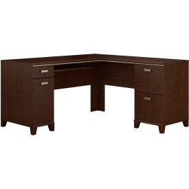 Bush Furniture Tuxedo L Shaped Desk with Storage in Mocha Cherry