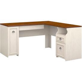 Bush Furniture L Desk   Antique White / Tea Maple   Fairview Series