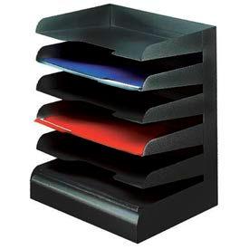 Classic™ 6 Tier Letter Size Horizontal Desk Tray - Black