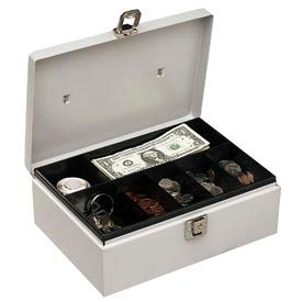 """Buddy Products Metal Cash Box 0513-32 With Handle 7 Compartments 11""""W x 7-3/4""""D x 4""""H, Platinum... by"""