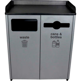Busch Systems Double Courtside for Waste & Cans & Bottles - 64 Gallon - Gray/Black - 100926