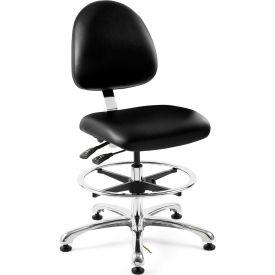 Bevco 9551M-E-V-BLK Integra-ESD Vinyl Upholstered Chair, Medium-Back, Aluminum Base, Black