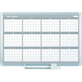 """MasterVision Magnetic 12 Month Planner Traditional Format, Steel Surface, 36""""W x 24""""H"""